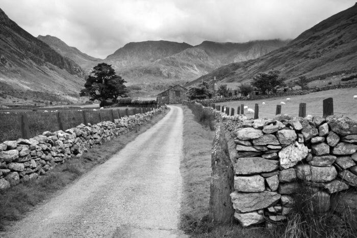 Ogwen Valley Snowdonia balck and white photograph