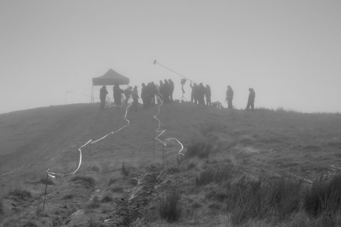 A film crew in the Cambrian Mountains